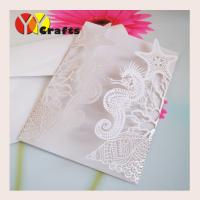 China laser cut customized Beach Starfish Seashell Sea Horse wedding invitations tree with insert,envelope and seal on sale