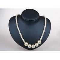 Trendy Single Strand Costume Pearl Necklace , Off White Plastic Pearl Necklace