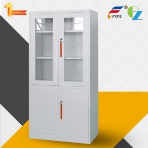Best Metal storage cupboard FYD-W012:H1850XW900XD400mm, KD,glass and steel swing door, KD structure wholesale