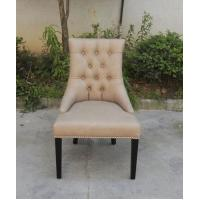 French Classical Style Brown Leather Leisure Chair with Vintage Button Back Oak Solid Wood Used for Hotel Chair