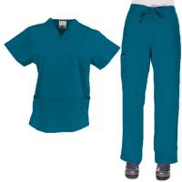 Cheap Fashionable Disposable Scrub Suits , Super Soft SMS Navy Blue Nursing Scrubs for sale