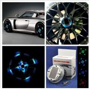 China Rechargeable Solar Energy flash Car wheel Decor colorful car led Tire Warning Wheel decoration light on sale