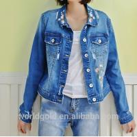 Best Fancy Distressed Stretch Embroidered Denim Jacket For Womens Fashion Design wholesale