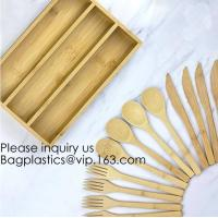 Best 12-Piece Reusable Bamboo Flatware Set with Portable Storage Case,Chopping Board,Cheese Board,Pizza Board,Drawer Organzie wholesale