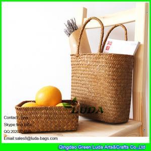China LUDA handmade seagrass straw bag and storage bin sets on sale