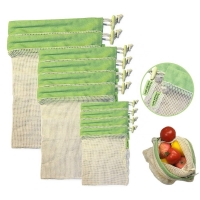China Upgrade Reusable Organic Cotton Mesh Biodegradable Shopping Grocery storage Bag with Drawstring on sale