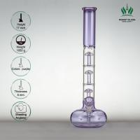 5 Mm Thickness Glass Water Smoking Pipe , 17 Inches Purple Tabacco Glass Bongs