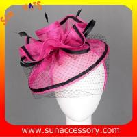 Best 0918 hot sale  fashion sinamay fascinators hats and caps with veil ,Fancy Sinamay fascinator  from Sun Accessory wholesale