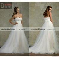 China 2015 New Arrival Elegant A-line Sweatheart Tulle Sweep Train Wedding Dresses Online on sale