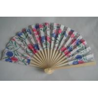 China 21cm Folding Hand Fans / Foldable Fan With Print Silk Fabric on sale