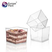 China China Manufacturer custom printed square clear mini smoothie yoghurt dessert cups plastic disposable on sale