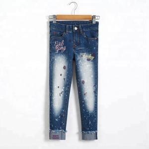 Best Slim Fit Kids Denim Clothes Children Jeans Pant Color Print Embroidered wholesale