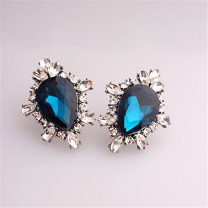 China 2015 New Arrival Big Size Earrings in Fashion Jewelry Royal Blue Sapphire Earrings Imitation Diamond Earrings 18K GP on sale