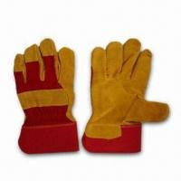 Best Full Palm Leather Gloves with Red Twill Cotton Back and Rubberized Cuff wholesale