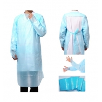 China Blue Waterproof Plastic CPE Non Woven Disposable Apron on sale