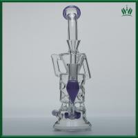 Best Purple Fluorescence Glass Water Bongs 10 Inches 14.4mm Female Joint With Showerhead wholesale