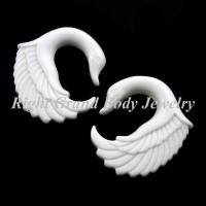 Best White Swan Ear Gauges Plugs Earring Hook Piercings For Wedding wholesale