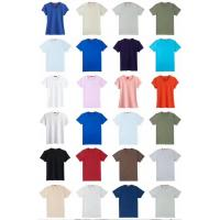 China men & women's  solid color summer Cotton Round collar  slim design Tees stock  size XS to XxxL 3 designs 18 colors on sale
