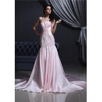 China Sexy Halter Pink Satin Strapless Mermaid Bride Wedding Gowns with Appliqued and Beads on sale