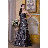 Best Luxurious Silver Strapless Mermaid Taffeta Sweep Train Evening Party Gowns With Sequins wholesale