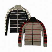 Best Men's knitted striped sweater/wool pullover, available in M to XL sizes wholesale