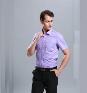 Best Men Business Dress Shirts Short Sleeve Stylish Anti - Pilling Turn Down Collar wholesale
