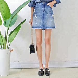 Best Women A Line Denim Mini Skirt With Pearls , Summer Short Jean Skirt for Ladies wholesale