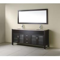Buy cheap Black Wood Veneer Floor Standing Bathroom Cabinet With Wood Frame Mirror from wholesalers
