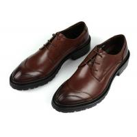 China Any Logo Mens Leather Dress Shoes With Stitches Britain Styles Brown Leather Dress Shoes on sale