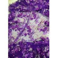 Best Luxury Guipure 3D Flower Lace Fabric For Apparel 135cm Width Purple wholesale