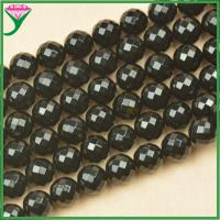 Best factory wholesale price 14mm natural faceted round shape black fire agate for sale wholesale