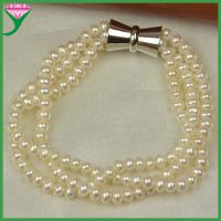 Best Fashion New trends three strand natural freshwater pearl bracelet wholesale wholesale