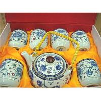 China Chinese Porcelain Blue Flower Tea Pot Set With 6 Cups on sale