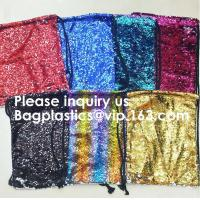 China Customized Sublimation Sequins Drawstring Bag Black And White Backpack Bag,Reversible Bling Customized Sequin Drawstring on sale