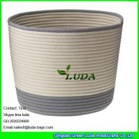 Best LUDA large laundry basket striped home cotton cord basket wholesale