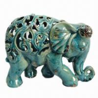 Best Ceramic Elephant with Crackle Blue Finish for Home Decorations wholesale