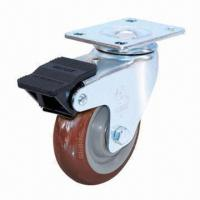 China Polyurethan Caster with Dual Brake, 90mm Diameter and 110kg Loading Capacity, Ideal for Machines on sale