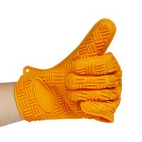 Best Orange Color Eco-friendly Five Fingers Silicone Oven Mitt Glove wholesale