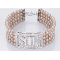 Best Pink Color Engraved Costume Pearl Bangle Bracelets With Diamonds Four Strand wholesale