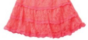 China Children Polyester Spandex Rose Red Lace Short Skirt on sale