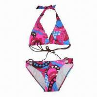China Ladies' Bikini with Colorful Print on Bra and Brief, Plastic Rings on Both Sides of Brief, Beautiful on sale