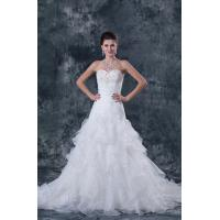 China White Strapless Sweetheart A Line Wedding Dress Organza Ruffle Bridal Gowns on sale