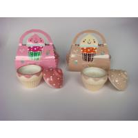 Best Beautiful Ice Cream Ceramic Jar Scented Candle Gift Sets With Papercard Bag wholesale