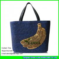 China LUDA squins banana decortaion personalized wheat straw beach bags on sale
