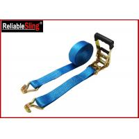 China 35mmx10m  Green Ratchet Straps with Double J Hook Ratchet Straps for Cargo Security on sale