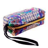 wholesale canvas embroidery stationery colored pencil set cosmetic bag