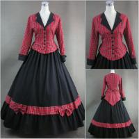 Best Cosplay Civil War Dress Wholesale Red Plaid and Black Long Sleeves Gothic Victorian Dress Classic Vintage Lolita Dress wholesale