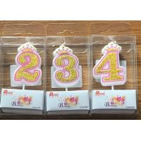 White Candle  Gold painting and Pink line with Cute Crown Number Birthday Candles 0-9