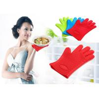 China Waterproof Heat Resistant Household Mitt Red Silicone Oven Gloves With 5 Fingers on sale