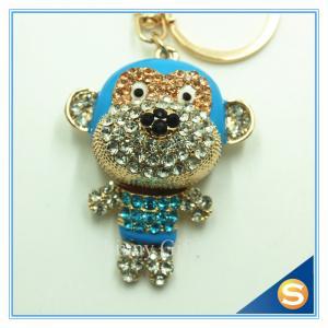 China Customs Animal  Shape Rhinestone Monkey Metal Key Chain Key Ring For Bags on sale